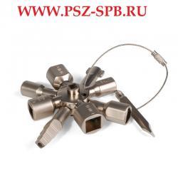 Ключ для электрошкафов с 10 профилями и битой крест шлиц