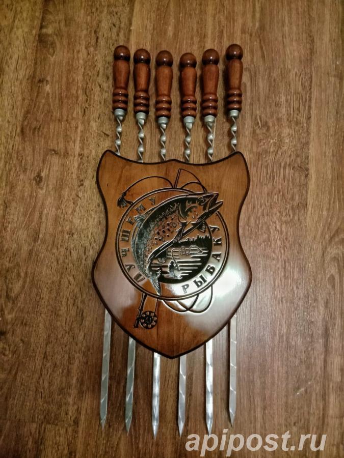 Шампура с деревянной ручкой из нержавейки подарочный набор - МОСКВА