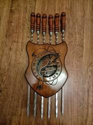 Шампура с деревянной ручкой из нержавейки подарочный набор