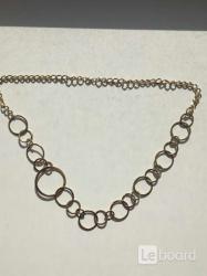 Цепь колье бижутерия украшение металл под золото
