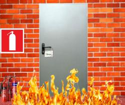 Двери противопожарные глухие со стеклом, одностворчатые