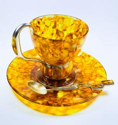 Чашка чайная Аркада из янтаря и белой бронзы