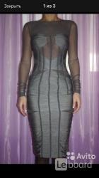 Платье новое dolce gabbana италия s 42 серое сетка стретч