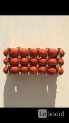 Браслет новый бижутерия оранжевый натуральный камни стразы
