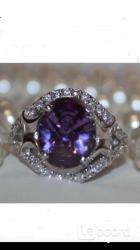 Кольцо новое серебро 19 размер камень аметист фиолетовый