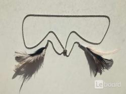 Колье цепочка цепь бижутерия украшение перья чёрные розовые