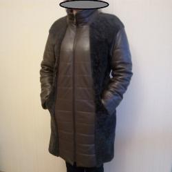 Женское, зимнее, кожаное пальто с натуральным мехом ягненка