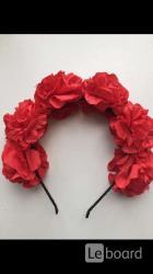 Ободок на волосы в стиле dolce gabbana красный цветы розы