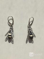 Серьги пчела бижутерия украшение металл под золото