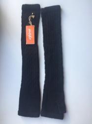Перчатки длинные шерсть чёрные митенки вязаные женские зима